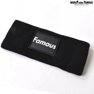 FAMOUS ラバーボックスロゴ ヘッドバンド ブラック