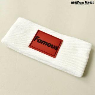 FAMOUS ラバーボックスロゴ ヘッドバンド 白赤