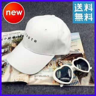 110 ホワイト キャップ 帽子 オルチャン YOUTH 野球帽 レディース 白