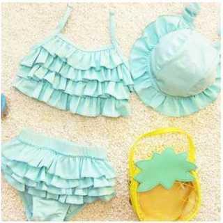 フリル 女の子 キッズ 3点 セット 帽子 水着 ビキニ 子供用 ブルー(水着)