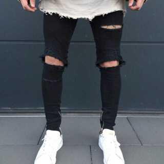 ダメージデニム ダメージジーンズ ブラック XLサイズ!