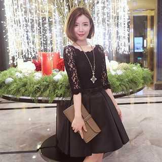 【今だけ特価】 リボンが可愛い♪ フェミニン ドレス ブラック Lサイズ