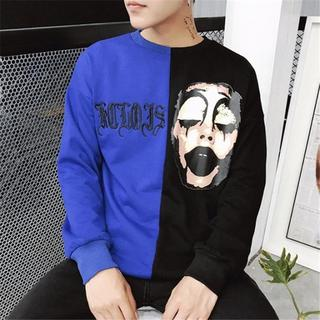 注目商品! ロングTシャツ ロンT 長袖Tシャツ メンズ ピエロ ブルー XL