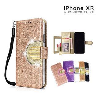 手帳型ケース キラキラ ストーン カードポケット付き iPhoneXR