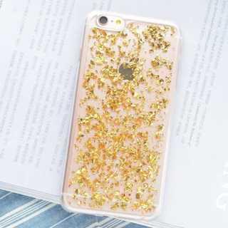 ラメ 銀箔  ホログラム クリアケース  iPhoneX ゴールド