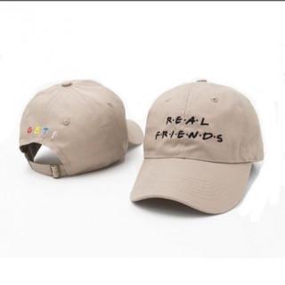 real friends 刺繍 キャップ 帽子 男女 ローキャップ khaki