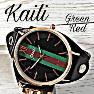 【海外限定】Kailiレザー 腕時計?レッド&グリーン