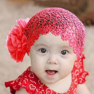 ラブリー赤い赤ちゃんの女の子レースハット大きな花