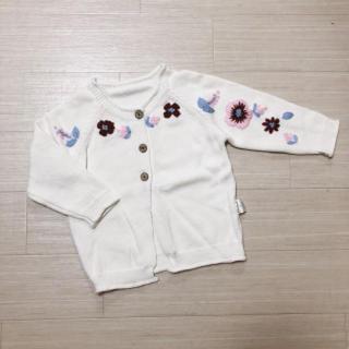 訳あり*新品*花刺繍 白カーディガン(90cm)子供服