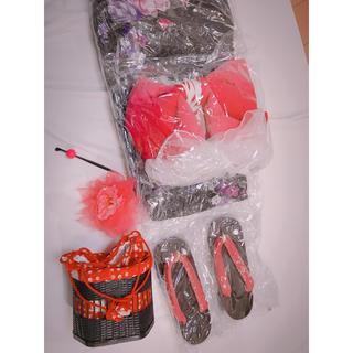浴衣 黒 ピンク 花柄 下駄 カゴバッグ 髪飾り かんざし 5点セット(浴衣)