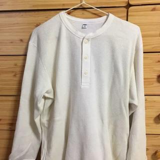 ユニクロ(UNIQLO)のユニクロ ワッフルヘンリーネックt XL 白(Tシャツ/カットソー(七分/長袖))