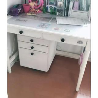 学習机 リメイク 白 塗装 パソコン机 姫(学習机)