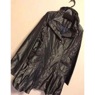 アンタイトル(UNTITLED)の【新品】黒 ロング ジャケットコート ドット M〜L 膝丈  長袖 上着 春(ナイロンジャケット)