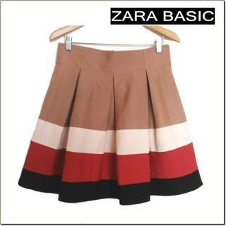 ザラ(ZARA)のZARA BASIC◆ザラ◆ベージュマルチ配色フレアスカート◆大きいサイズ(ひざ丈スカート)