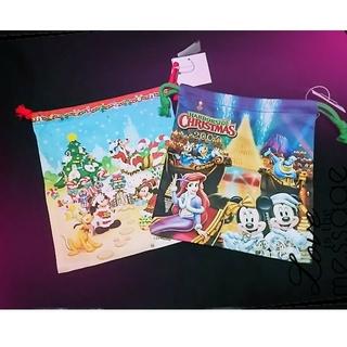 ディズニー(Disney)のディズニーランド&ディズニーシー クリスマス2004 巾着2点セット(ポーチ)