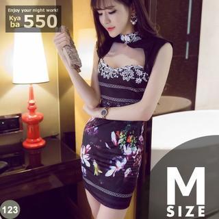 キャバドレス 123 プリント柄 ボディコン ミニ ドレス 刺繍 M-L(ミニドレス)