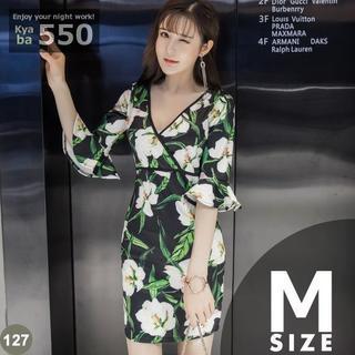 キャバドレス 127 花柄 ボディコン ミニワンピ ベルスリーブ M-L(ミニドレス)