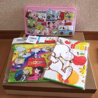 スヌーピー(SNOOPY)のスヌーピー 長財布  、ミニタオル、巾着、新品未使用(キャラクターグッズ)