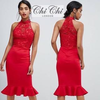チチロンドン(Chi Chi London)のChi Chi London ホルターネック レースドレス(ミディアムドレス)