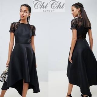 チチロンドン(Chi Chi London)のChi Chi London フィッシュテールレーススリーブドレス(ミディアムドレス)