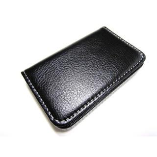 安価! 名刺入れ カードケース 約25枚収容 ブラック 黒 男女兼用(名刺入れ/定期入れ)