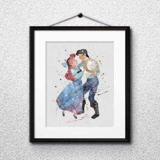 ディズニー(Disney)のアリエル&エリック王子(リトルマーメイド)アートポスター【額縁つき・送料無料!】(ポスター)