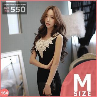 キャバドレス 164B 黒 ボディコン レース 刺繍 ミニワンピ M-L(ミニドレス)