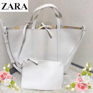 ZARA - ザラの2wayポーチ付きの白いバッグ