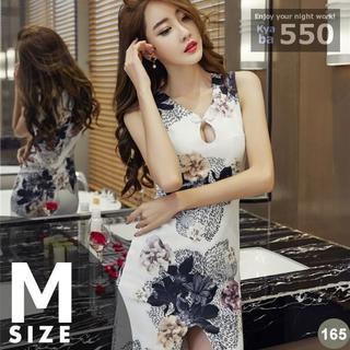 キャバドレス 165W 白 チャイナドレス風 ドレス ミニ ワンピ S-M-L(ミニドレス)