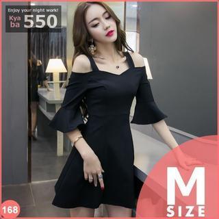 キャバドレス 168B 黒 Aライン ミニ ベルスリーブ ドレス S-M-L(ミニドレス)