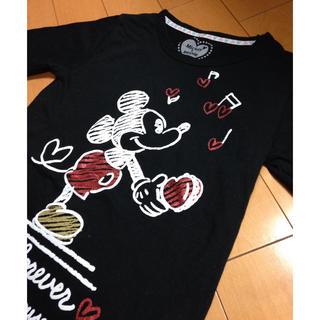 ディズニー(Disney)のミッキーハートラメブラックカットソー(カットソー(長袖/七分))