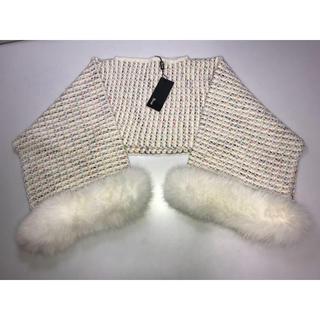 ルネ(René)の新品ルネ◆ファー付きニット セーター 36号 白系 カラフル マフラーにも 防寒(マフラー/ショール)