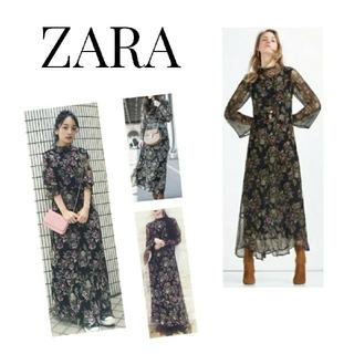 ZARA - ZARA 人気 ロングワンピース シフォン フラワー