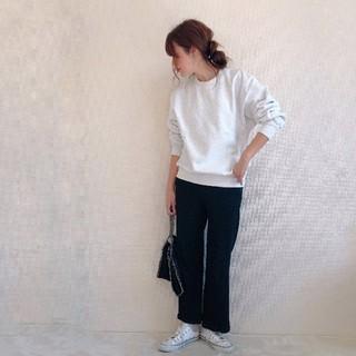 ジーユー(GU)の新品!GU ジーユー ヘビーウェイトビッグスウェットシャツ Sサイズ グレー(トレーナー/スウェット)