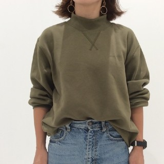 新品GU ジーユー スウェット モックネックシャツ トレーナー カーキ グリーン
