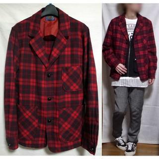 ペンドルトン(PENDLETON)のペンドルトン シャツジャケット 赤 チェック Lサイズ ヴィンテージ オールド(テーラードジャケット)