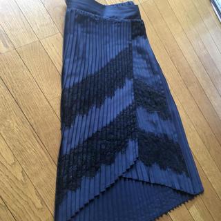 ZARA - ザラ プリーツ 黒レース ネイビー紺色 ロング スカート セレモニー VERY