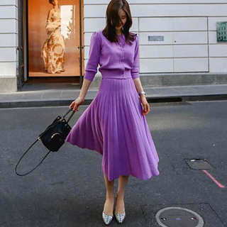 ZARA - きれい色でレディ感ばっちり!パープルのミモレ丈セットアップ♡