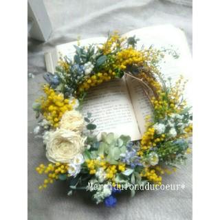 春の草花とミモザの三日月wreath・ミモザリース・ドライフラワーリース(リース)