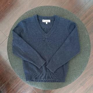 シマムラ(しまむら)のネイビー*Vネック*セーター*キッズ*120*ウール混*長袖*制服(ニット)