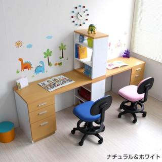 高品質◎学習机 ツインデスク 書棚付きラック 3段チェスト(学習机)