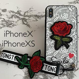 iPhone7/iPhone8専用 ケースカバー ローズ刺繍ホワイト(iPhoneケース)