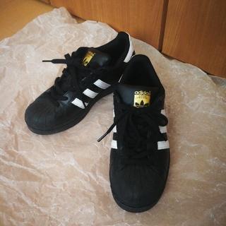 アディダス(adidas)のアディダス スーパースター 23,5 ブラック ホワイト ゴールド(スニーカー)
