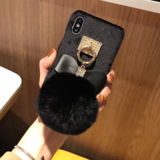 セール中大人気!!ふわふわ可愛いリボン付iphoneケース❄リボン取外し可能(iPhoneケース)
