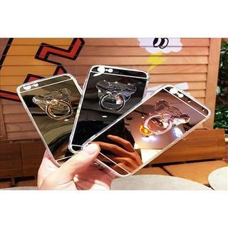 クマ ベアー iPhoneケース ミラー リング付 アイフォン(iPhoneケース)