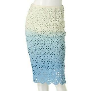 エディグレース(EDDY GRACE)の未使用エディグレース グラデーションレースタイトスカート青(ひざ丈スカート)