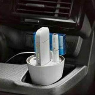 ♪アイコス スタンド 灰皿 充電器 ホワイト(車内アクセサリ)