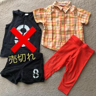 ネクスト(NEXT)の夏服 チェックシャツ スパッツ ☆80cm☆ 【2点まとめ売り!!】(シャツ/カットソー)