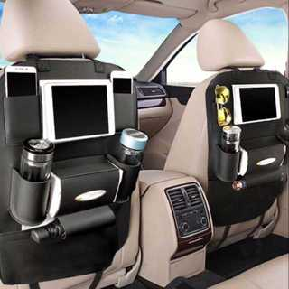 車用 収納 バックシート 多機能 レザー 車内 アクセサリー カー用品 黒(車内アクセサリ)