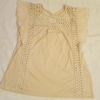 ジーユー(GU)の新品•タグ付き GU フリルスリーブレースT(Tシャツ(半袖/袖なし))